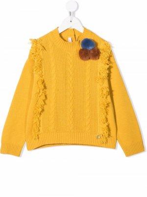 Pompom-detail cable-knit jumper Miss Blumarine kid. Цвет: желтый