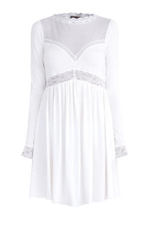 Сорочка силуэта ампир с кружевной отделкой и вставкой из вуали ERMANNO SCERVINO. Цвет: белый