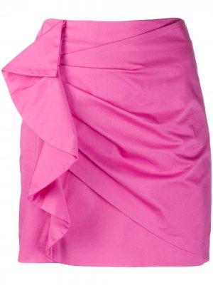 Атласная мини-юбка Perinne асимметричного кроя со сборками Derek Lam 10 Crosby. Цвет: розовый