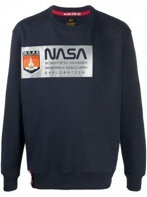Толстовка NASA с принтом Alpha Industries. Цвет: синий