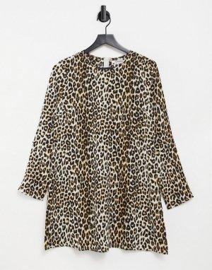 Платье с присборенной юбкой и леопардовым принтом -Оранжевый цвет Glamorous