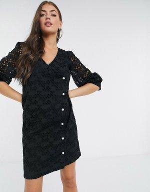 Черное кружевное платье мини с запахом Avador-Черный Just Female