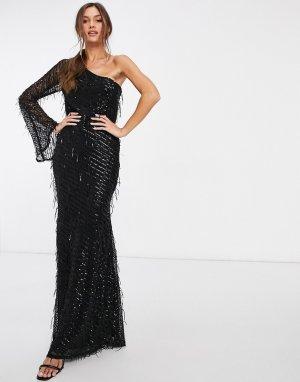 Черное платье макси с пайетками и бахромой на одно плечо -Черный Goddiva