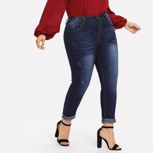 Большие облегающие джинсы SHEIN. Цвет: тёмно-синие