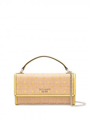 Плетеная сумка с верхней ручкой Kate Spade. Цвет: желтый