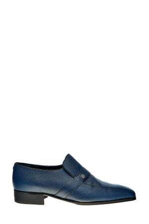 Лоферы в классическом стиле из крупнозернистой кожи с литым логотипом ARTIOLI. Цвет: синий