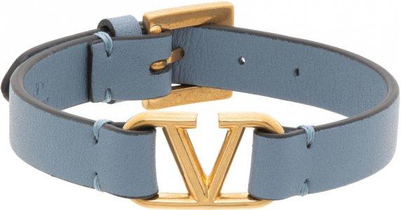 Blue Leather VLogo Bracelet Valentino Garavani. Цвет: 56y niagara