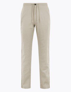Классические льняные брюки M&S Collection. Цвет: природный камень