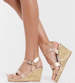 Туфли из искусственной кожи цвета розового золота на танкетке -Золотистый New Look Wide Fit