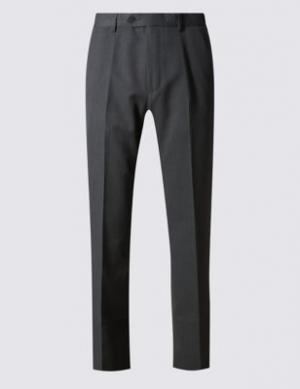 Классические брюки без защипов с технологиями Crease Resistant и Buttonsafe™ M&S Collection. Цвет: уголь