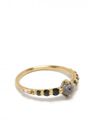 Золотое кольцо Imperial Garden Halo с бриллиантами и сапфирами Polly Wales. Цвет: золотистый