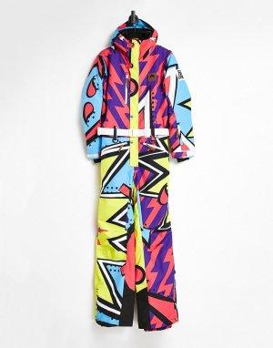 Горнолыжный костюм унисекс с разноцветным принтом в стиле ретро OOSC-Многоцветный Old School Ski