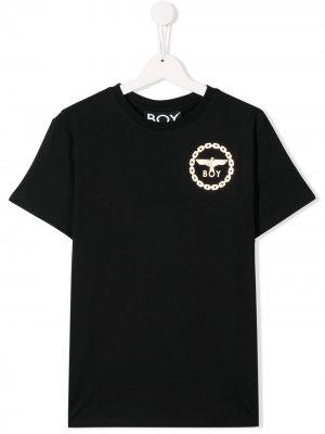 Футболка с логотипом Boy London Kids. Цвет: черный желтый
