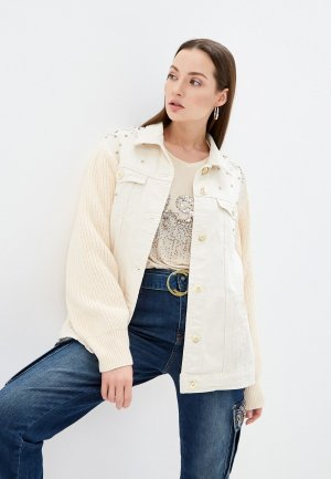 Куртка джинсовая DSHE. Цвет: бежевый