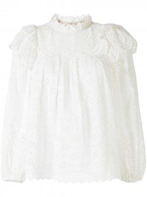 Блузка Holland с вышивкой Ulla Johnson. Цвет: белый