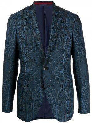 Однобортный пиджак с принтом пейсли ETRO. Цвет: синий
