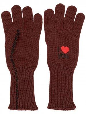 Перчатки с вышивкой I Love You Raf Simons. Цвет: красный