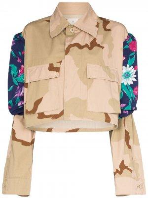 Куртка с камуфляжным принтом и вставками Rentrayage. Цвет: нейтральные цвета