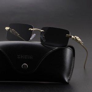 Мужские квадратные солнцезащитные очки без оправы SHEIN. Цвет: темно-серый