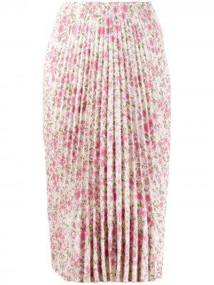 Плиссированная юбка с цветочным принтом A.F.Vandevorst. Цвет: нейтральные цвета