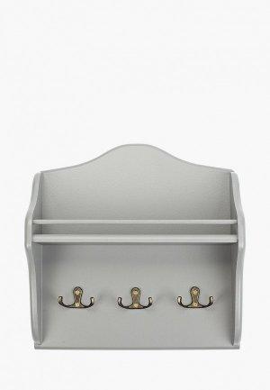 Ключница настенная Мастер Рио Винтаж,  28х28х9 см. Цвет: серый