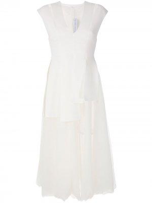 Платье миди с юбкой из тюля Gloria Coelho. Цвет: белый