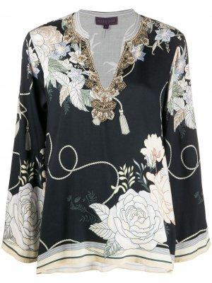 Блузка оверсайз с цветочным принтом Hale Bob. Цвет: черный