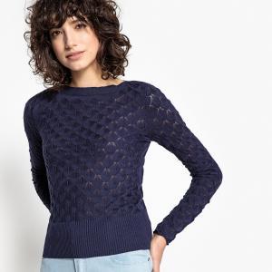 Пуловер из тонкого трикотажа с вырезом-лодочкой LA REDOUTE COLLECTIONS. Цвет: слоновая кость