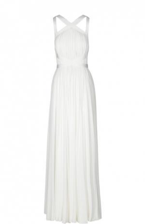 Драпированное платье в пол с декоративной отделкой Herve L.Leroux. Цвет: белый