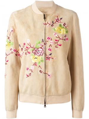 Декорированная куртка бомбер Etro. Цвет: телесный