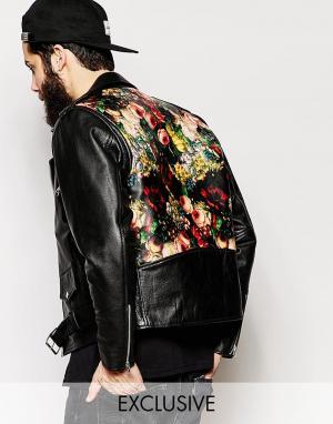 Кожаная байкерская куртка с принтом сзади Reclaimed Vintage. Цвет: черный