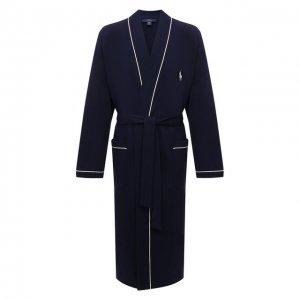 Хлопковый халат Ralph Lauren. Цвет: синий