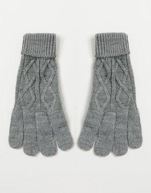 Трикотажные перчатки с узором в косичку -Серый Boardmans