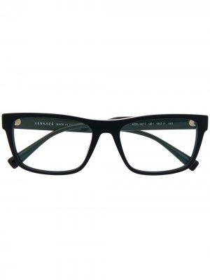 Очки в квадратной оправе Versace Eyewear. Цвет: черный