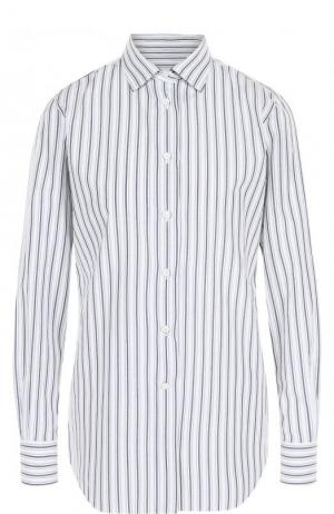 Блуза из смеси шелка и хлопка в полоску Loro Piana. Цвет: голубой