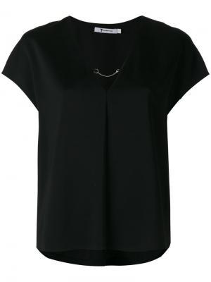 Топ с короткими рукавами и цепочным декором T By Alexander Wang. Цвет: черный