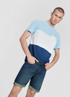 Зауженные джинсовые шорты O`Stin. Цвет: светло-синий