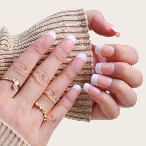 24шт в французском стиле Накладные ногти & 1 лист лента 1шт пилочка для ногтей SHEIN. Цвет: белый