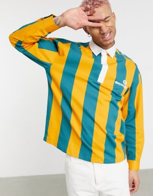 Рубашка в полоску стиле регби без застежки ASOS Daysocial-Бежевый DESIGN