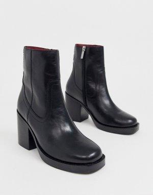 Черные кожаные полусапожки на каблуке с квадратным носком -Черный Bronx