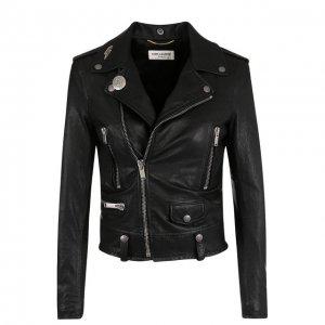Укороченная кожаная куртка с косой молнией Saint Laurent. Цвет: чёрный