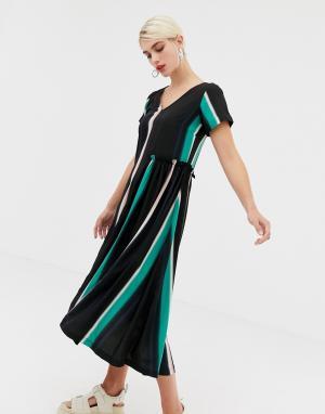 Платье с оборками и выцветшим принтом 2NDDAY Nicole 2nd Day. Цвет: мульти
