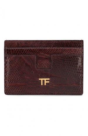 Футляр для кредитных карт из кожи ящерицы Tom Ford. Цвет: бордовый