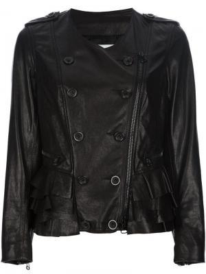 Кожаная куртка на пуговицах 3.1 Phillip Lim. Цвет: черный