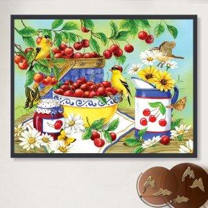 DIY алмазная живопись без рамки с узором фруктовый пикник SHEIN. Цвет: многоцветный