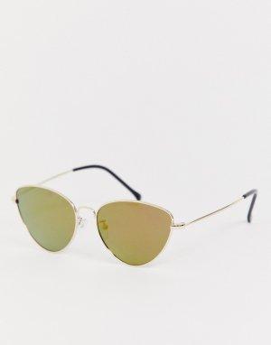 Солнцезащитные очки кошачий глаз с зеркальными стеклами AJ Morgan. Цвет: золотой