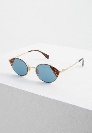 Очки солнцезащитные Fendi FF 0342/S 1ED. Цвет: золотой