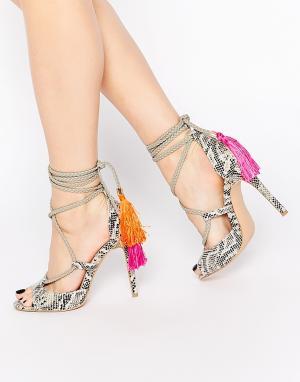 Босоножки на каблуке со шнуровкой -Мульти Daisy Street