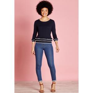 Пуловер с круглым вырезом из тонкого трикотажа YUMI. Цвет: темно-синий