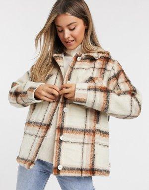 Куртка-плед в коричневую клетку -Коричневый цвет Hollister